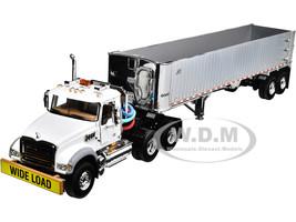 Mack Granite MP Tandem-Axle Day Cab East Genesis End Dump Trailer White Chrome 1/50 Diecast Model First Gear 50-3457