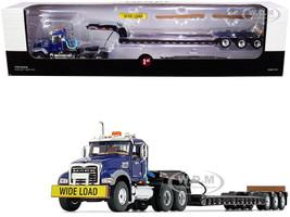 Mack Granite MP Tandem-Axle Day Cab Talbert Tri-Axle Lowboy Trailer Mack Blue Black 1/50 Diecast Model First Gear 50-3458