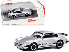 Porsche 911 Turbo 930 Silver Black Stripes 1/64 Diecast Model Car Schuco 452022400