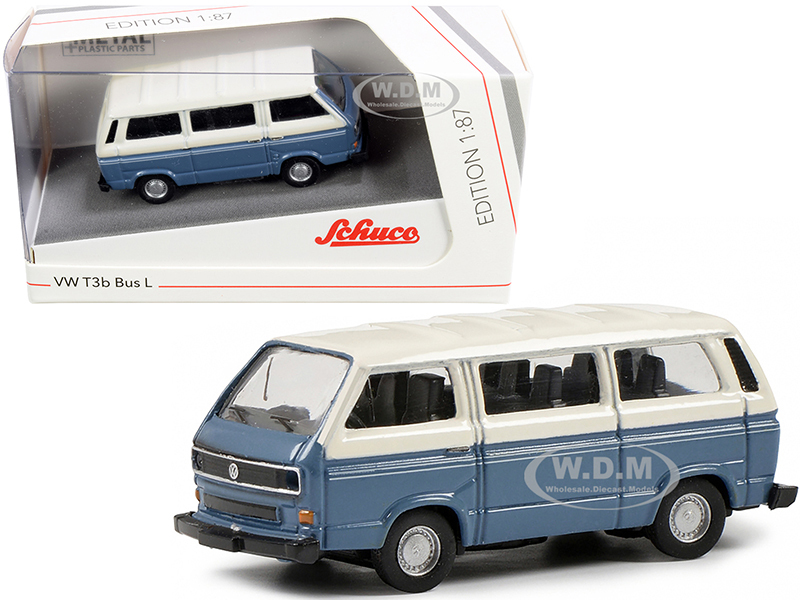 Volkswagen T3b Bus L Blue Cream 1/87 HO Diecast Model Schuco 452650900