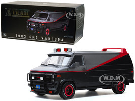 1983 GMC Vandura Van Black Silver Red Stripe The A-Team 1983 1987 TV Series Bespoke Collection 1/12 Model Car Greenlight 12101