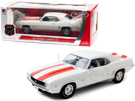 1969 Chevrolet Camaro SS Z10 Pace Car Coupe White Orange Stripes Black Houndstooth Interior 1/18 Diecast Model Car Highway 61 18026