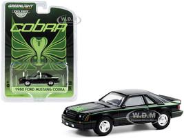 1980 Ford Mustang Cobra Black Green Cobra Hood Graphics Stripe Treatment Hobby Exclusive 1/64 Diecast Model Car Greenlight 30228