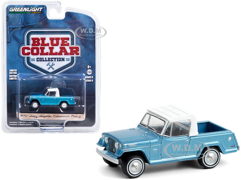 1970 Jeep Jeepster Commando Pickup Truck Light Blue Metallic White Top Blue Collar Collection Series 8 1/64 Diecast Model Car Greenlight 35180 B