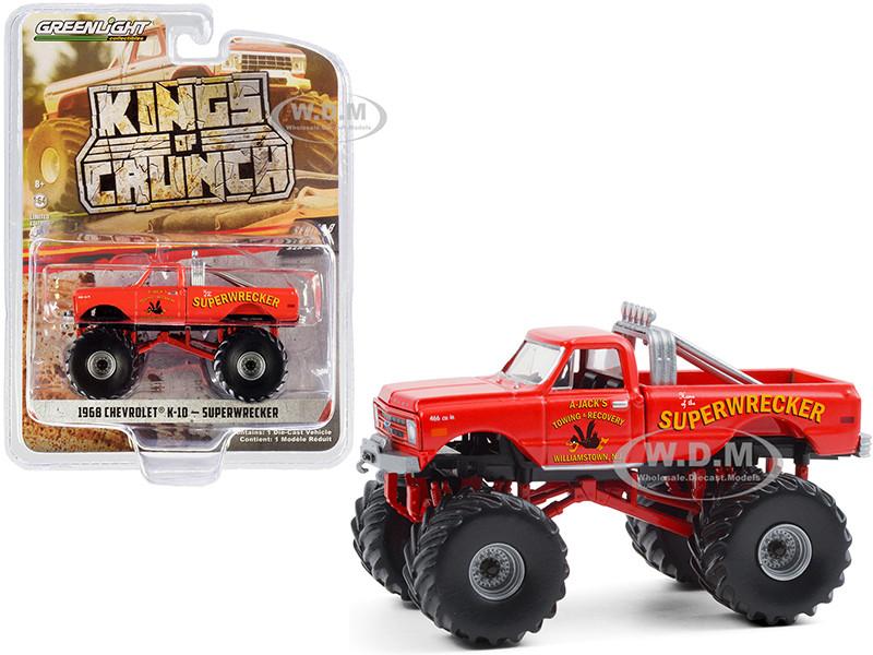 1968 Chevrolet K-10 Monster Truck Superwrecker Orange Kings of Crunch Series 8 1/64 Diecast Model Car Greenlight 49080 A