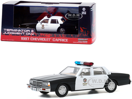 1987 Chevrolet Caprice Metropolitan Police Black White Terminator 2 Judgment Day 1991 Movie 1/43 Diecast Model Car Greenlight 86582
