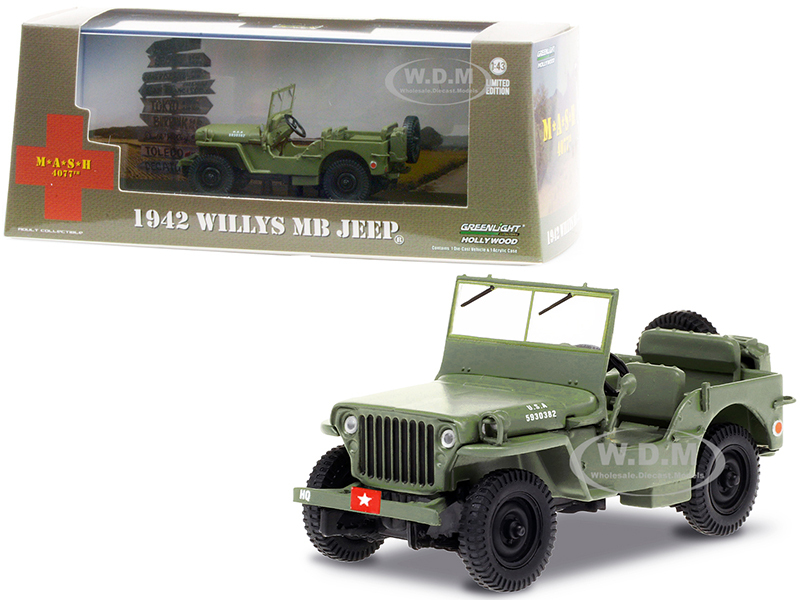 1942 Willys MB Jeep Army Green M*A*S*H 1972 1983 TV Series 1/43 Diecast Model Car Greenlight 86589