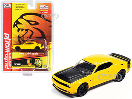 2019 Dodge Challenger SRT Hellcat Yellow Black Hood Tail Stripe Limited Edition 3000 pieces Worldwide 1/64 Diecast Model Car Autoworld CP7722
