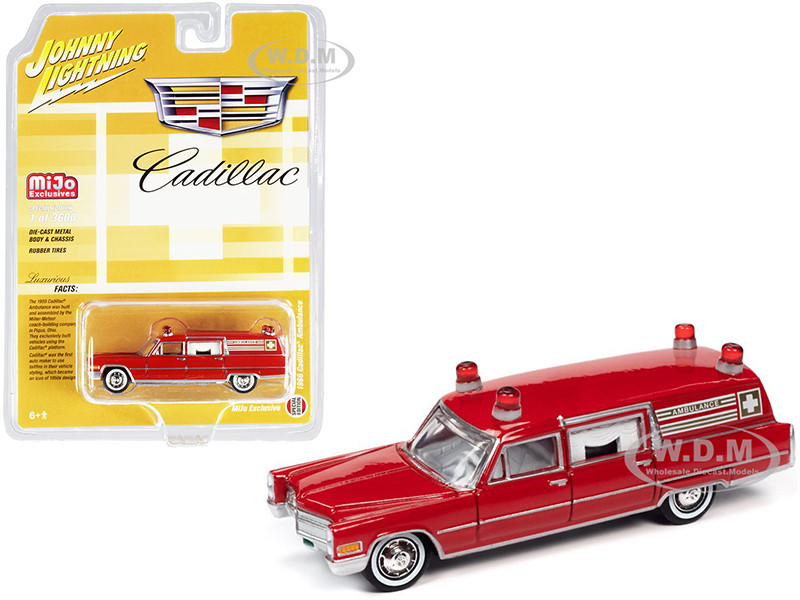 1966 Cadillac Ambulance Red Special Edition Limited Edition 3600 pieces Worldwide 1/64 Diecast Model Car Johnny Lightning JLCP7351