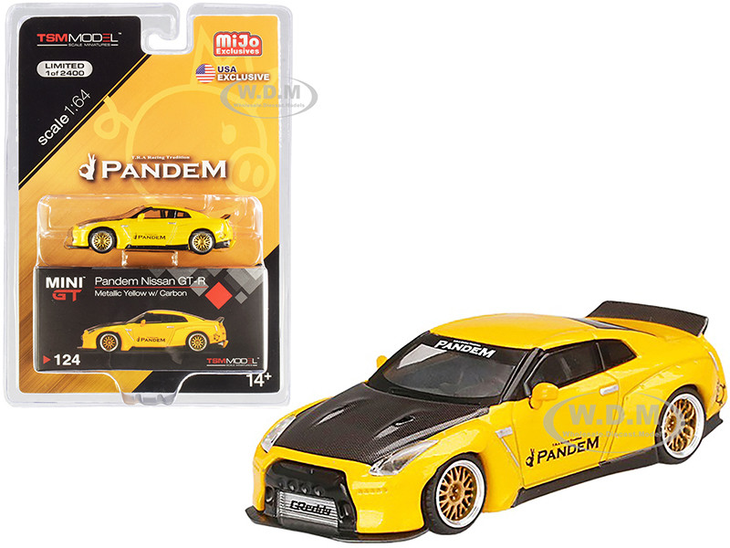 Nissan Pandem GT-R R35 Duck Tail Yellow Metallic Carbon Hood Limited Edition 2400 pieces Worldwide 1/64 Diecast Model Car True Scale Miniatures MGT00124