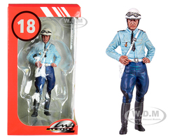 1975 1980 Michel French Police Motorcycle Officer Figurine 1/18 Scale Models Le Mans Miniatures 118036-P1