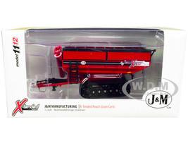 J&M 1112 X-Tended Reach Grain Cart Tracks Red 1/64 Diecast Model SpecCast CUST1659