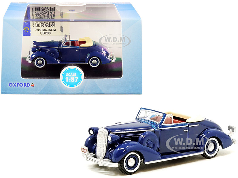 1936 Buick Special Convertible Coupe Musketeer Blue 1/87 HO Scale Diecast Model Car Oxford Diecast 87BS36005
