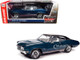 1970 Buick GS 455 Stage 1 Hardtop Diplomat Blue Metallic Black Top White Interior Hemmings Muscle Machines Magazine Cover Car July 2019 1/18 Diecast Model Car Autoworld AMM1242