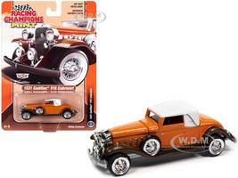 1931 Cadillac V16 Burnt Orange Brown Metallic White Top 1/64 Diecast Model Car Racing Champions RCSP015