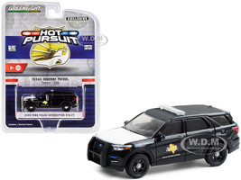 2020 Ford Police Interceptor Utility Texas Highway Patrol Black White Hood Hot Pursuit Series 1/64 Diecast Model Car Greenlight 30234