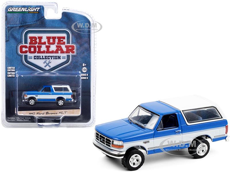 1992 Ford Bronco XLT Bright Regatta Blue White Blue Collar Collection Series 8 1/64 Diecast Model Car Greenlight 35180 F