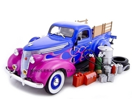 1937 Studebaker Pickup Blue With Accessories 1/24 Diecast Car Unique Replicas 18567