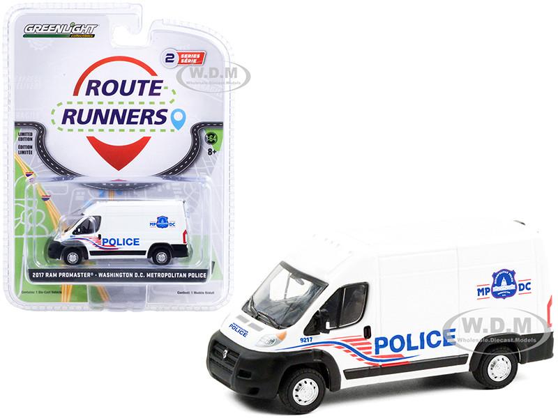 2017 Ram ProMaster 2500 Cargo High Roof Van White Washington DC Metropolitan Police Route Runners Series 2 1/64 Diecast Model Greenlight 53020 C