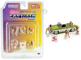 Bikini Car Wash Girls Diecast Set 7 pieces 4 Figurines 3 Accessories 1/64 Scale Models American Diorama 76465
