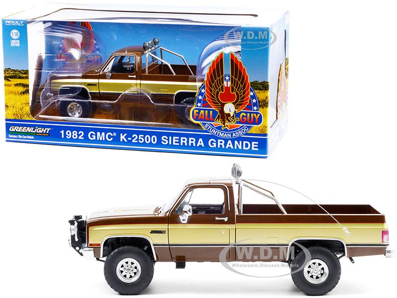 1982 GMC K-2500 Sierra Grande Pickup Truck Brown Gold Sides Fall Guy Stuntman Association The Fall Guy 1981 1986 TV Series 1/18 Diecast Model Car Greenlight 13560