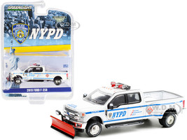 2019 Ford F-350 Dually Pickup Truck Snow Plow White New York City Police Department NYPD Hobby Exclusive 1/64 Diecast Model Car Greenlight 30216