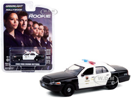 2008 Ford Crown Victoria Police Interceptor Black White Los Angeles Police Department LAPD The Rookie 2018 TV Series Hollywood Series Release 30 1/64 Diecast Model Car Greenlight 44900 F