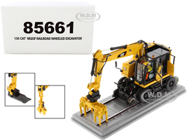 CAT Caterpillar M323F Railroad Wheeled Excavator Operator 3 Work Tools Safety Yellow Version High Line Series 1/50 Diecast Model Diecast Masters 85661