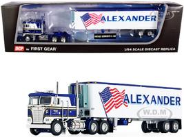 Kenworth K100 COE Flattop 40' Vintage Reefer Refrigerated Trailer Alexander Trucking Blue White 36th Fallen Flag Series 1/64 Diecast Model DCP First Gear 60-0846