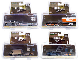 Hitch & Tow Set of 4 pieces Series 21 1/64 Diecast Model Cars Greenlight 32210