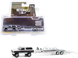 1983 GMC Jimmy Sierra Classic Pearl White Black Heavy Duty Flatbed Car Hauler Hitch & Tow Series 21 1/64 Diecast Model Car Greenlight 32210 A