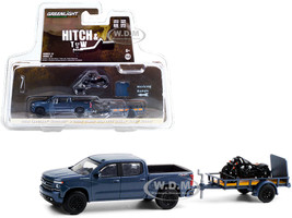 2020 Chevrolet Silverado 4X4 Pickup Truck Dark Blue Metallic Flatbed Utility Trailer 2020 Indian Scout Bobber Motorcycle Hitch & Tow Series 21 1/64 Diecast Model Car Greenlight 32210 D