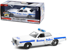 1976 Dodge Coronet White Blue Stripes Boston Police Department Massachusetts Hot Pursuit Series 1/24 Diecast Model Car Greenlight 85521