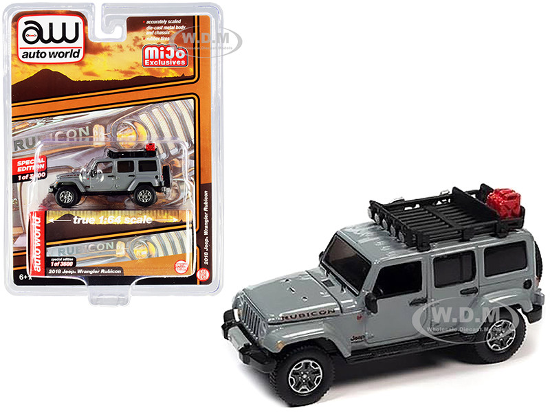 2018 Jeep Wrangler Rubicon Roof Rack Gray Limited Edition 3600 pieces Worldwide 1/64 Diecast Model Car Autoworld CP7717