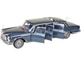 1969 Mercedes Benz 600 Pullman W100 Limousine Sunroof King of Rock and Roll Blue Blue Interior Limited Edition 800 pieces Worldwide 1/18 Diecast Model Car CMC 218