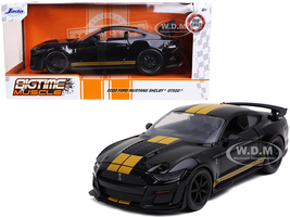 2020 Ford Mustang Shelby GT500 Black Gold Stripes Bigtime Muscle 1/24 Diecast Model Car Jada 32661