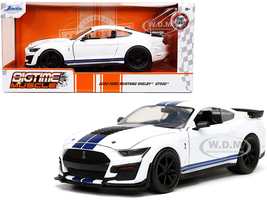 2020 Ford Mustang Shelby GT500 White Blue Stripes Bigtime Muscle 1/24 Diecast Model Car Jada 32663