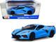 2020 Chevrolet Corvette Stingray Z51 Coupe Blue Black Stripes 1/24 Diecast Model Car Maisto 31527