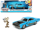 1970 Plymouth 440-6BBL RoadRunner Light Blue Metallic Black Hood Wile E. Coyote Diecast Figurine Looney Tunes 1/24 Diecast Model Car Jada 32038