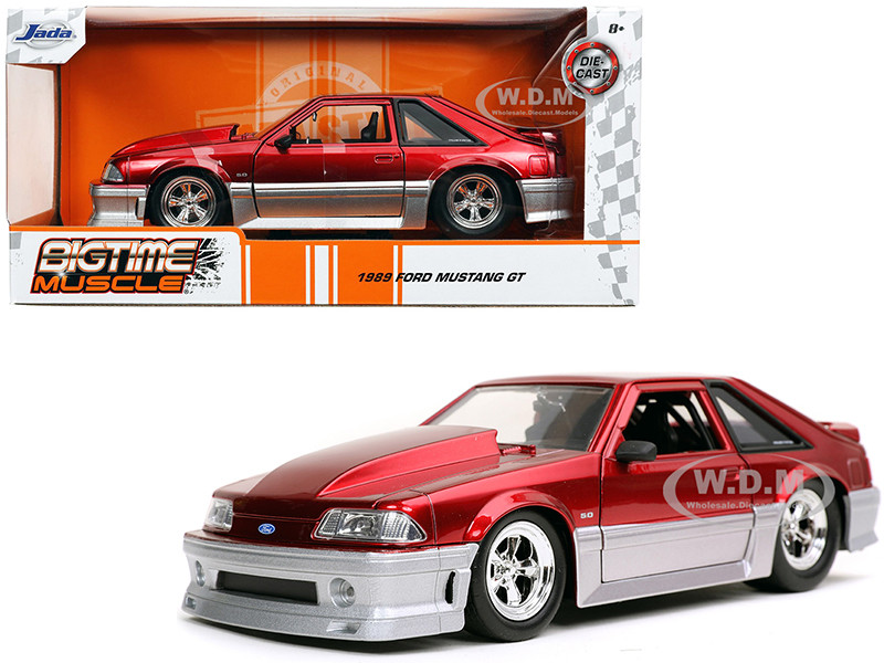 1989 Ford Mustang GT 5.0 Candy Red Silver Bigtime Muscle 1/24 Diecast Model Car Jada 32666