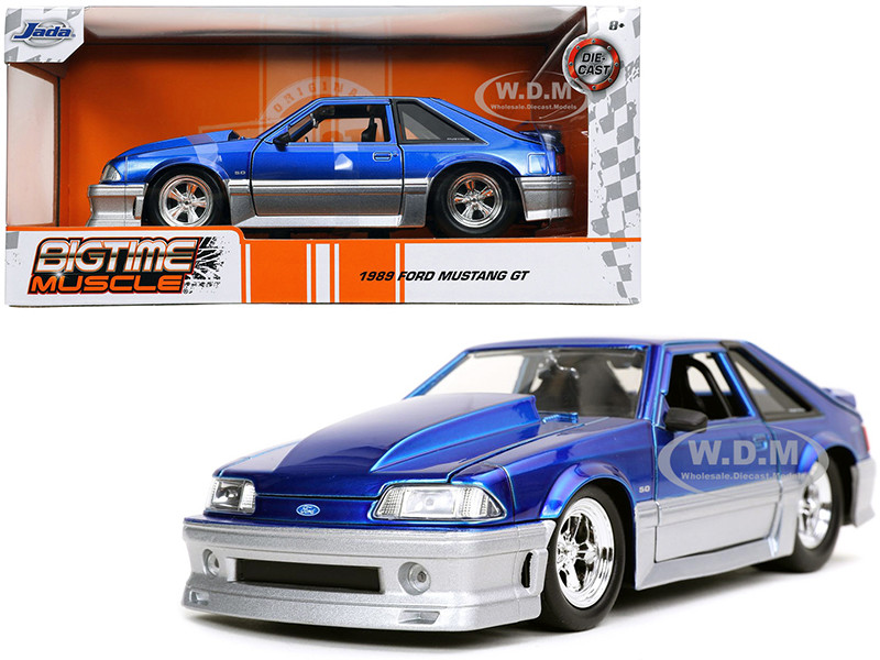 1989 Ford Mustang GT 5.0 Candy Blue Silver Bigtime Muscle 1/24 Diecast Model Car Jada 32670