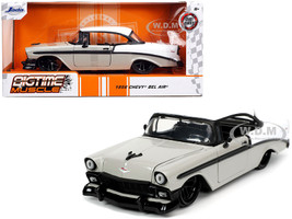 1956 Chevrolet Bel Air Gray White Bigtime Muscle 1/24 Diecast Model Car Jada 32696