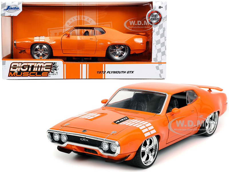 1972 Plymouth 440 GTX Orange White Graphics Bigtime Muscle 1/24 Diecast Model Car Jada 32697