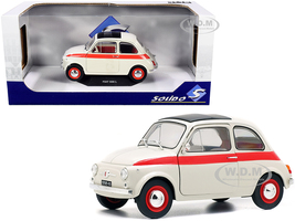 1960 Fiat 500 L Nuova Sport Cream Red Stripes 1/18 Diecast Model Car Solido S1801401