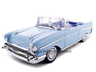 1957 Chevrolet Bel Air Convertible Blue 1/18 Diecast Model Car Motormax 73175
