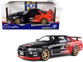 1999 Nissan Skyline GT-R R34 RHD Right Hand Drive Advan Black Red Competition Series 1/18 Diecast Model Car Solido S1804302