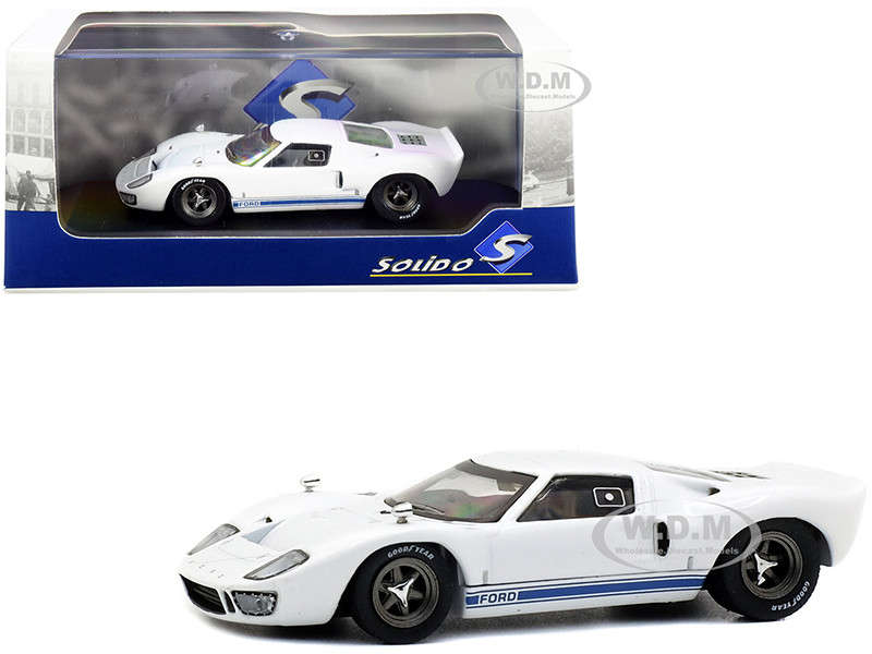 1966 Ford GT40 White Blue Stripes 1/43 Diecast Model Car Solido S4303200