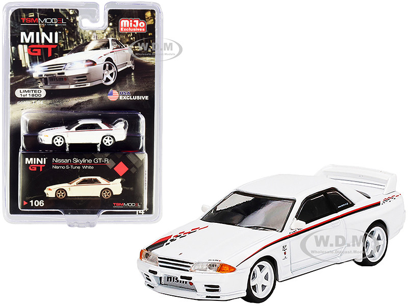 Nissan Skyline GT-R R32 Nismo S-Tune RHD Right Hand Drive White Graphics Limited Edition 1800 pieces Worldwide 1/64 Diecast Model Car True Scale Miniatures MGT00106