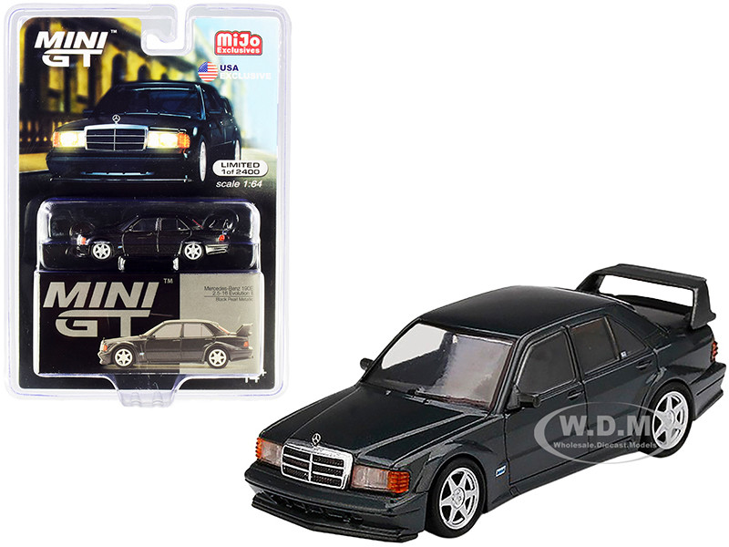 Mercedes Benz 190E 2.5-16 Evolution II Black Pearl Metallic Limited Edition 2400 pieces Worldwide 1/64 Diecast Model Car True Scale Miniatures MGT00164