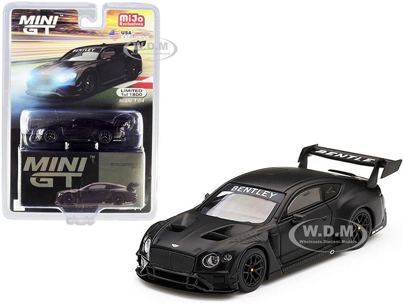 Bentley Continental GT3 RHD Right Hand Drive Test Car 2018 Matt Black Limited Edition 1800 pieces Worldwide 1/64 Diecast Model Car True Scale Miniatures MGT00177